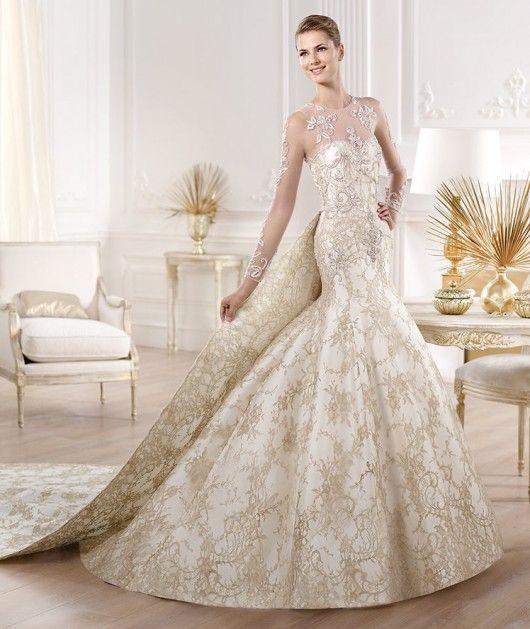 Vestidos de novia color blanco con dorado
