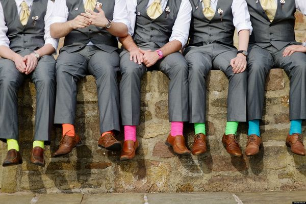 Funny colorful socks of groomsmen; Shutterstock ID 117930757; PO: The Huffington Post; Job: The Huffington Post; Client: The Huffington Post; Other: The Huffington Post
